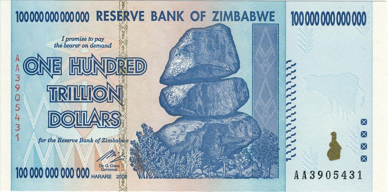 100 Billionen Simbabwe-Dollar-Banknote von 2008